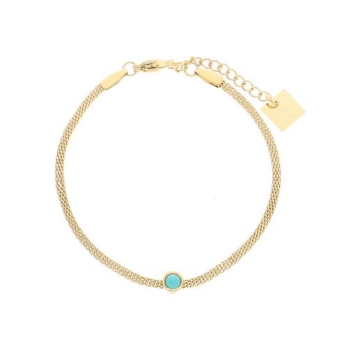 Bracelet acier doré, Turquoise